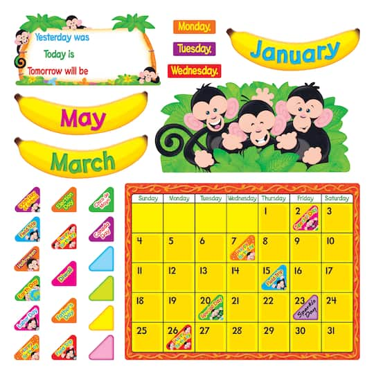 Trend Enterprises Monkey Mischief® Calendar Bulletin Board Set