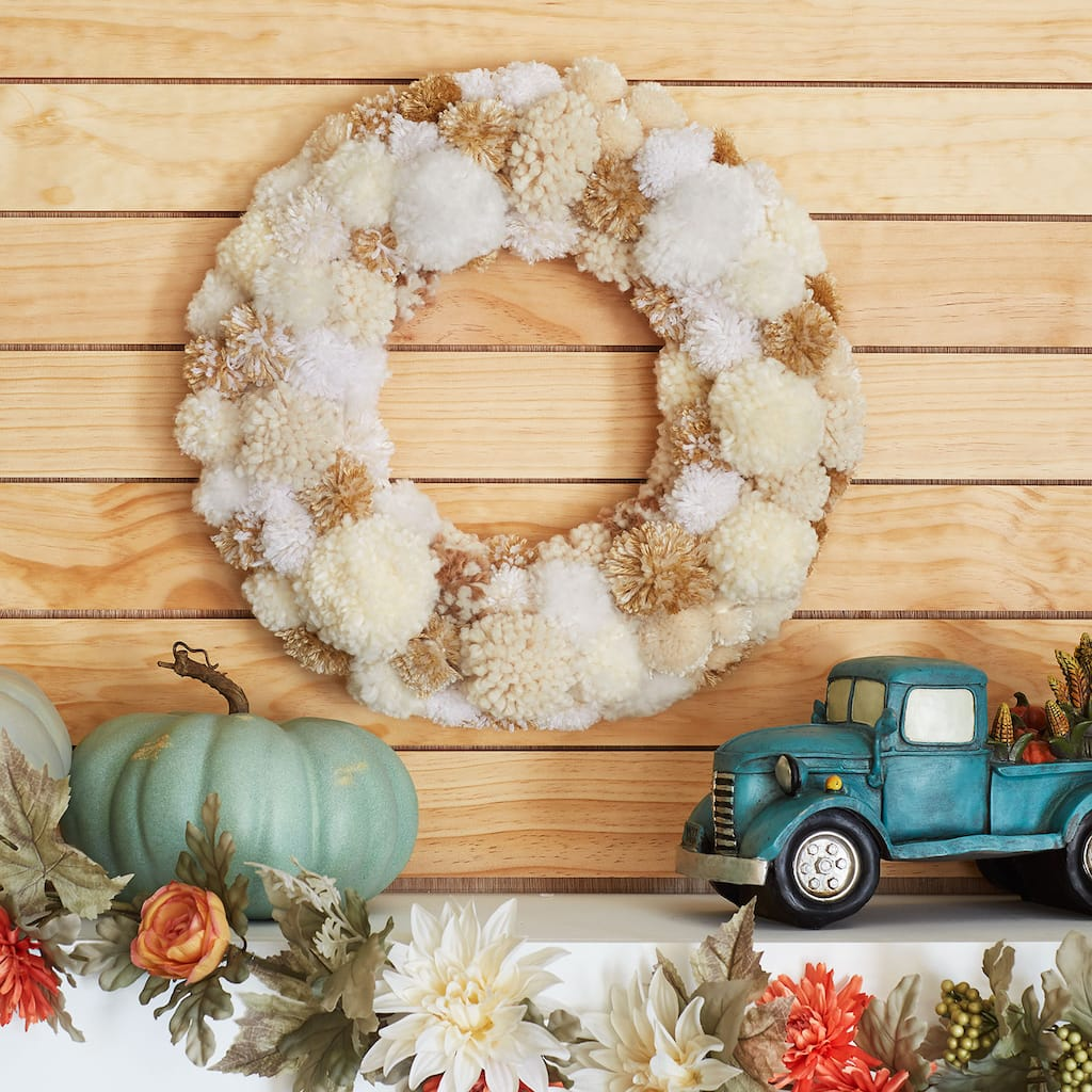 Fall Yarn Pom Pom Wreath