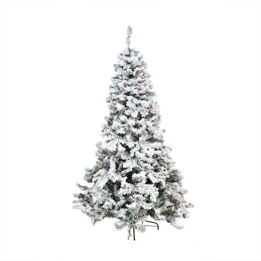 9 Ft. Pre-Lit Heavily Flocked Pine Medium Artificial Christmas Tree, Multi Lights. img. img img