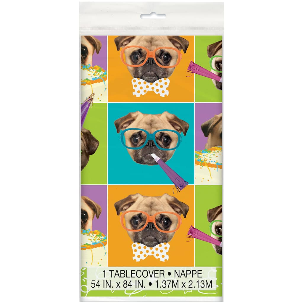 Pug Puppy Party Plastic Tablecloth Puppy Party Decorations
