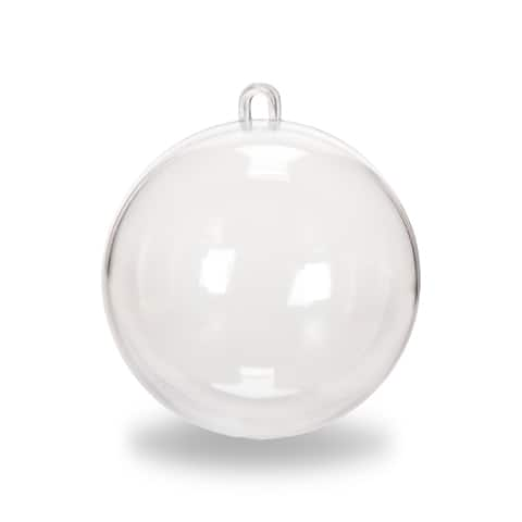 Box Of 6 Discs 3.18 Inch Clear Glass Flat Christmas Ornaments For Crafting