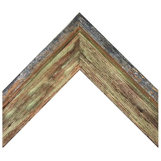 Green Barnwood With Silver Custom Frame